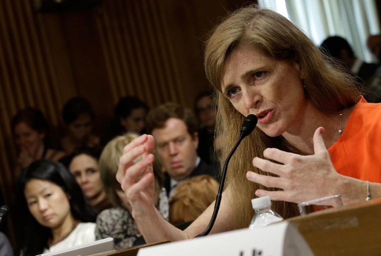 Samantha Power, the nominee to be the U.S. representative to the United Nations, testifies before the Senate Foreign Relations Committee July 17, 2013 in Washington, DC. Power has received broad bipartisan support for her nomination. (Win McNamee/Getty Images)