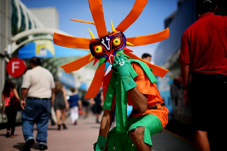 Attendee Anthony Knight dresses as Skull Kid from Legends of Zelda at Comic-Con at the San Diego Convention Center on July 19, 2013 in San Diego, California. (Sandy Huffaker/Getty Images)