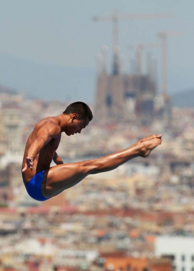 Sebastian Morales Mendoza of Colombia competes in the Men's 1m Springboard Diving final on day three of the 15th FINA World Championships at Piscina Municipal de Montjuic on July 22, 2013 in Barcelona, Spain. (Clive Rose/Getty Images)