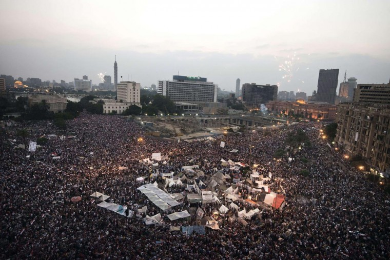 Egyptian protesters calling for the ouster of President Mohamed Morsi gather in Cairo's landmark Tahrir Square on July 3, 2013.(Gianluigi Guercia/AFP/Getty Images)
