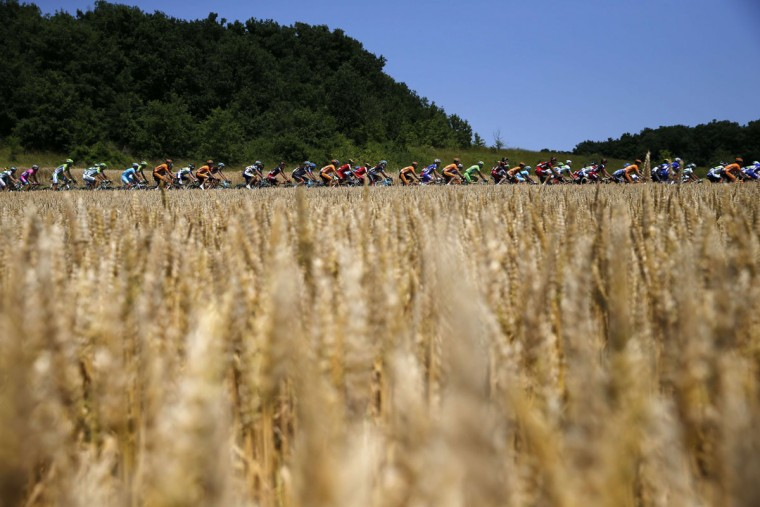 The pack rides during the 173-km thirteenth stage of the 100th edition of the Tour de France cycling race on July 12, 2013 between Tours and Saint-Amand-Montrond, central France. (Jeff Pachoud/AFP/Getty Images)