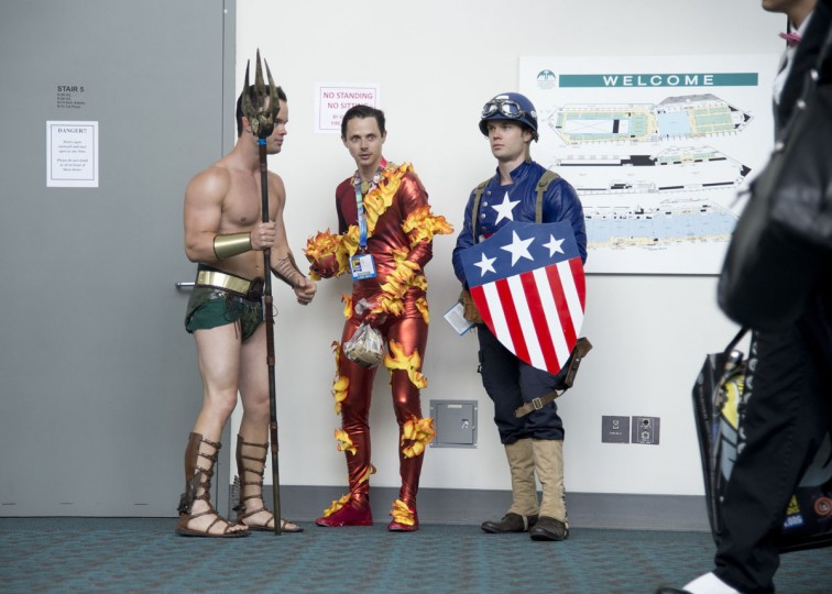 Dressed as the Submariner, Ian Bassett (left) and friends in Human Torch and Captain America costumes attend the Comic-Con International 2013 at the San Diego Convention Center in San Diego, California, on July 19, 2013. (Robyn Beck/AFP/Getty Images)