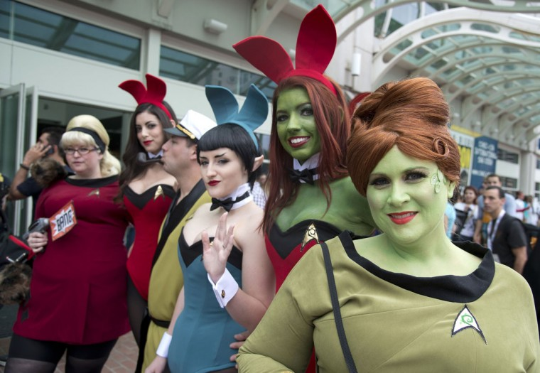 People in Star Trek-themed costumes attend Comic-Con 2013 in San Diego California July 19, 2013. (Robyn Beck/AFP/Getty Images)