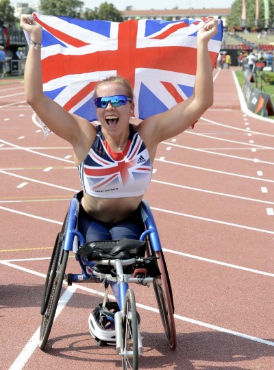 Britain's Hannah Cockroft celebrates after winning the Women's 100 m T34 final, on July 22, 2013 during of the IPC Athletics World Championships at the Rhone Stadium in Venissieux outside Lyon.  (Desmazes Philippe/AFP)Britain's Hannah Cockroft celebrates after winning the Women's 100 m T34 final, on July 22, 2013 during of the IPC Athletics World Championships at the Rhone Stadium in Venissieux outside Lyon.  (Desmazes Philippe/AFP)