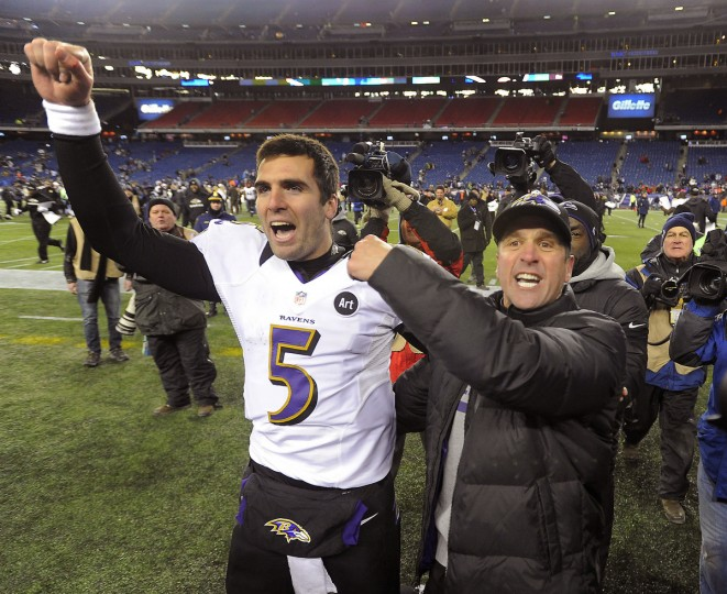 Ravens quarterback Joe Flacco and head coach John Harbaugh celebrate the Ravens' playoff win over the Patriots in the AFC Championship game in January 2013. (Gene Sweeney Jr./Baltimore Sun)