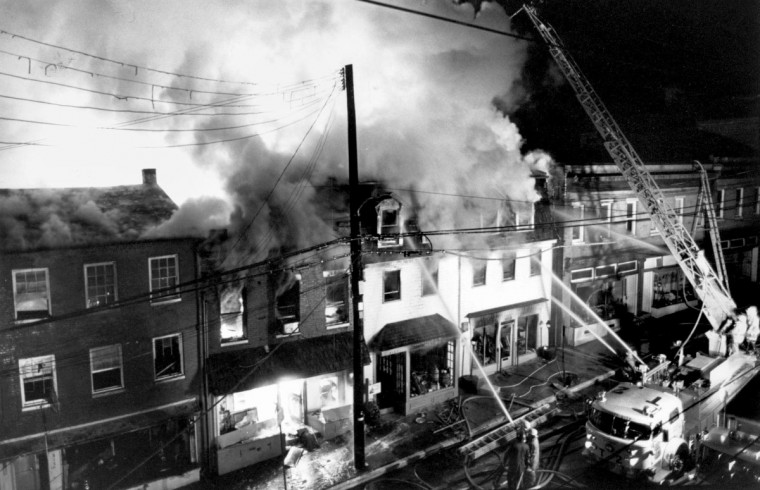 The historic downtown of Ellicott City went up in flames one night in November 1984. The six-alarm fire was reported shortly after 11 p.m. and destroyed at least eight buildings. (Gene Sweeney Jr./Baltimore Sun)