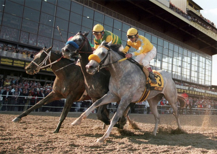 Rider Gary Stevens and Silver Charm (center), winner of the 122nd Preakness Stakes in 1997, head toward the finish line at Pimlico. In second place was Free House, with rider Paco Gonzalez (right), followed by Captain Bodgit ridden by Alex Solis. (Gene Sweeney, Jr./Baltimore Sun)