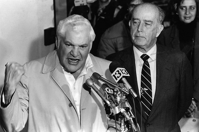 Baltimore Colts owner Robert Irsay engages in a shouting match with reporters during a news conference on Jan. 20, 1984 at Baltimore Washington International airport, where Irsay denied making a deal to move the National Football League franchise to Phoenix. (Gene Sweeney Jr./Baltimore Sun)
