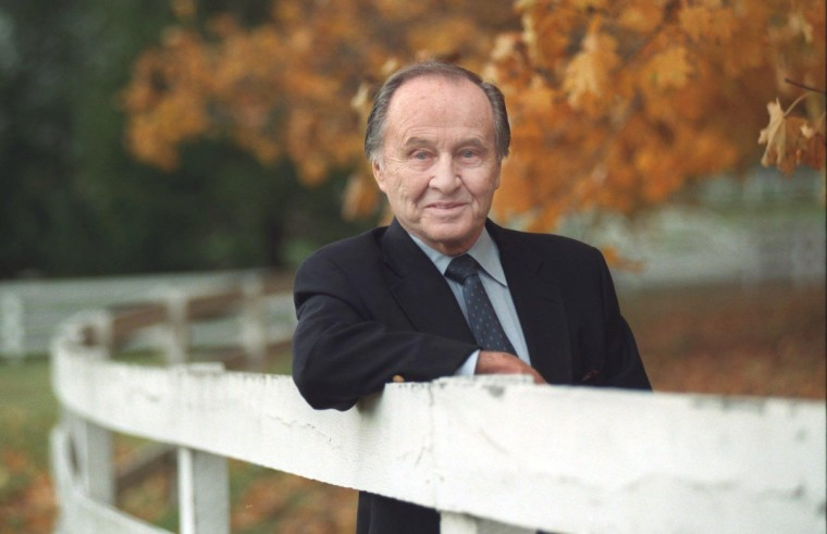 ABC sportscaster Jim McKay celebrated his 50th year in broadcasting and wrote a book about his experiences. Here, McKay is photographed at his farm in Monkton in 1997. (Gene Sweeney, Jr./Baltimore Sun)