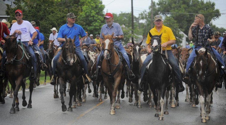 Members of the Chincoteague Volunteer Firefighters guide the ponies through town and to the carnival grounds. (Erin Kirkland/Baltimore Sun)