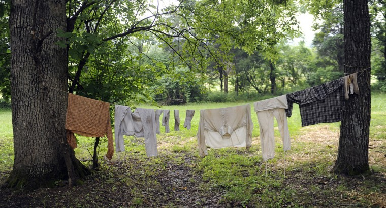 Confederate soldiers' laundry hangs in a living history camp at the 150th anniversary of the Battle of Gettysburg. (Barbara Haddock Taylor/Baltimore Sun)
