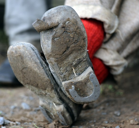 This is a detail of a Confederate soldier's boots at the 150th anniversary of the Battle of Gettysburg. (Barbara Haddock Taylor/Baltimore Sun)