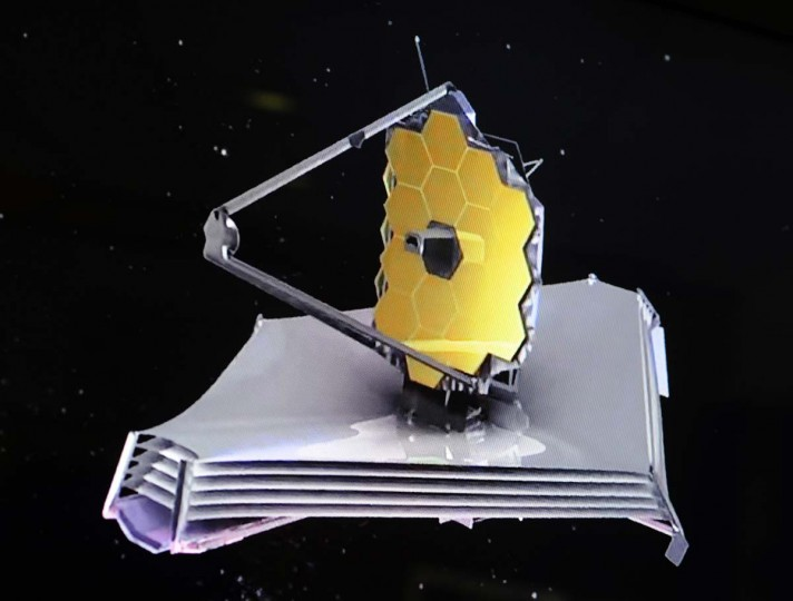 This image is taken from a video on the James Webb Space Telescope. (Algerina Perna/Baltimore Sun)