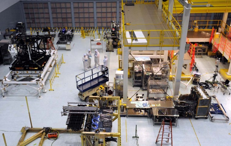 An overview of one section of the Clean Room. The James Webb Space Telescope is being built in the Clean Room of NASA Goddard Space Flight Center. (Algerina Perna/Baltimore Sun)