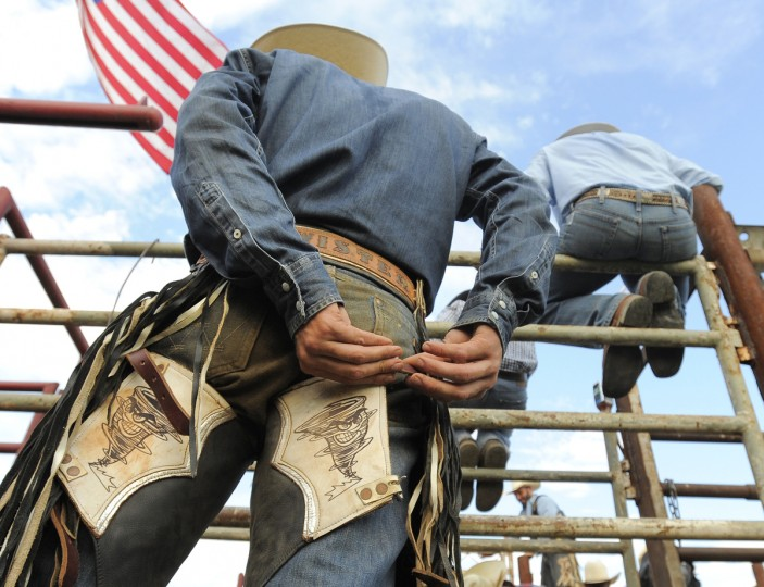 "Cole ""Twister"" Trivette from Kansas gets ready for his bull ride. (Lloyd Fox/Baltimore Sun)"