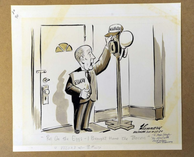 1984 political cartoon about William Donald Schaefer. (Lloyd Fox/Baltimore Sun)