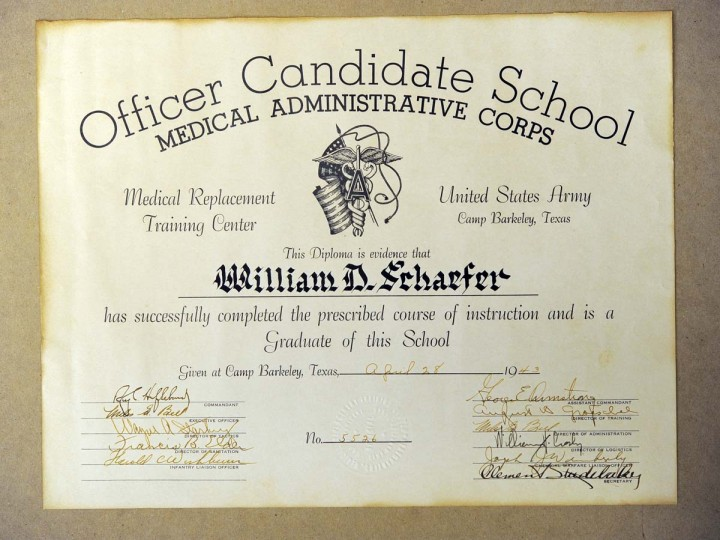 William Donald Schaefer's diploma from the Officer Candidate School in 1943. (Lloyd Fox/Baltimore Sun)