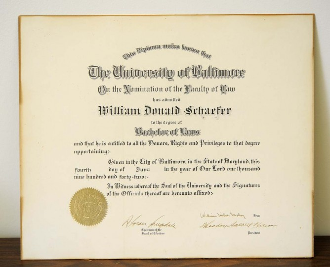 William Donald Schaefer's diploma from the University of Baltimore law school. (Lloyd Fox/Baltimore Sun)