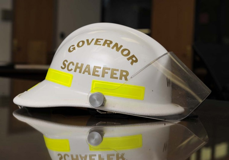 A fireman's helmet bearing William Donald Schaefer's name. (Lloyd Fox/Baltimore Sun)