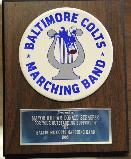 A 1985 plaque presented to William Donald Schaefer from the Colts Marching Band. (Lloyd Fox/Baltimore Sun)