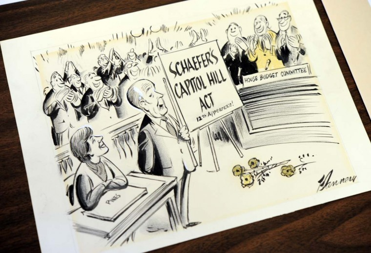 An original political cartoon featuring William Donald Schaefer. (Lloyd Fox/Baltimore Sun)