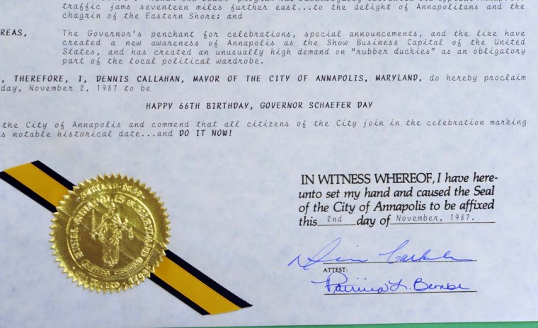 The city of Annapolis recognizes William Donald Schaefer's 66th Birthday in 1987. (Lloyd Fox/Baltimore Sun)