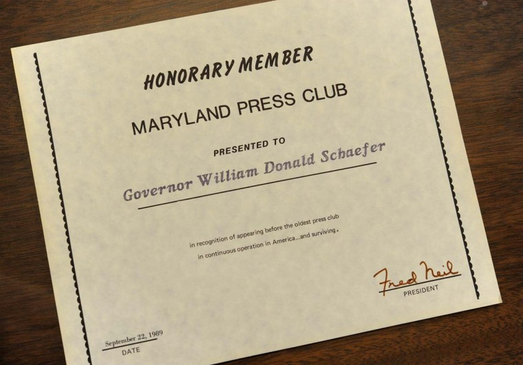 "In 1989, William Donald Schaefer was made an honorary member of the Maryland Press Club. ""He had more membership cards than anyone,"" said Robert Schoeberlein, the state archivist in charge of special collections. ""There are probably hundreds."" (Lloyd Fox/Baltimore Sun)"