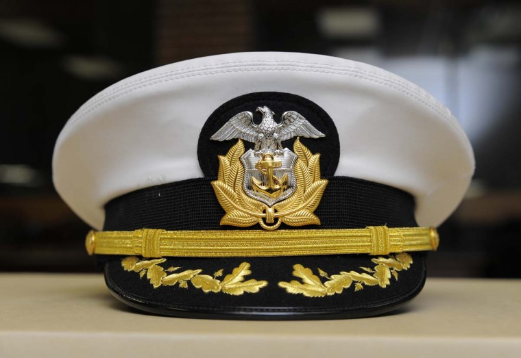 A hat from either a Navy captain or commander was given to William Donald Schaefer. Officials haven't determined a good place to store Schaefer's collection. (Lloyd Fox/Baltimore Sun)