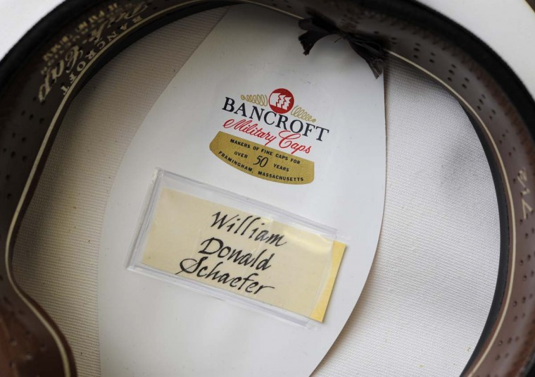 A hat from either a Navy captain or commander was given to William Donald Schaefer. (Lloyd Fox/Baltimore Sun)