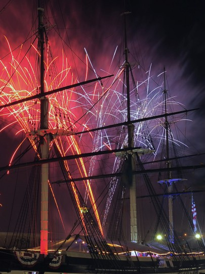 Fireworks rise behind the U.S.S. Constellation during the Fourth of July Independence Day 2013 celebration at Harborplace Thursday, Jul. 4, 2013. (Karl Merton Ferron/Baltimore Sun)
