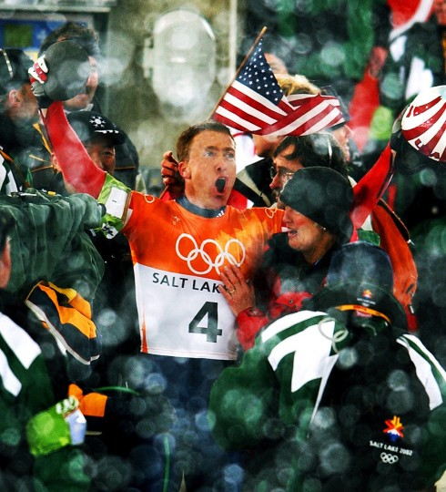Jim Shea, a third-generation Olympian, celebrated after winning the gold medal in skeleton at the Olympics in Utah on Feb. 20, 2002. (Gene Sweeney, Jr./Baltimore Sun)