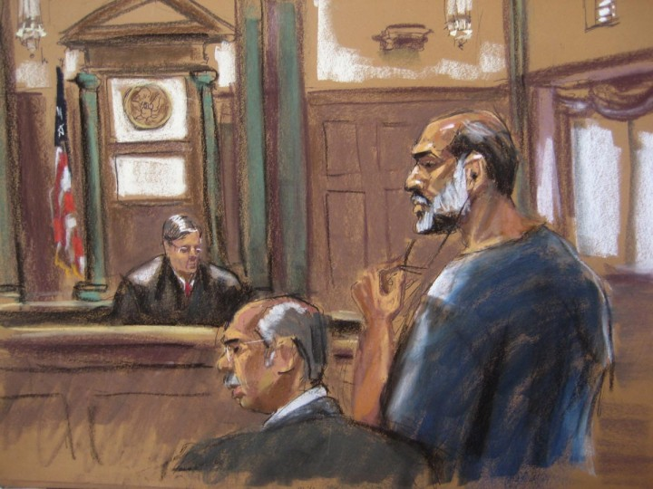 An artist sketch shows Suleiman Abu Ghaith, a militant who appeared in videos as a spokesman for al Qaeda after the September 11, 2001 attacks, appearing at the U.S. District Court in Manhattan March 8, 2013. Abu Ghaith, a son-in-law of Osama bin Laden and one of the highest-ranking al Qaeda figures to be brought to the United States to face a civilian trial, pleaded not guilty on Friday to a charge of conspiracy to kill Americans. The U.S. District Court in Manhattan is only blocks from the site of the World Trade Center. (Jane Rosenberg/Reuters)