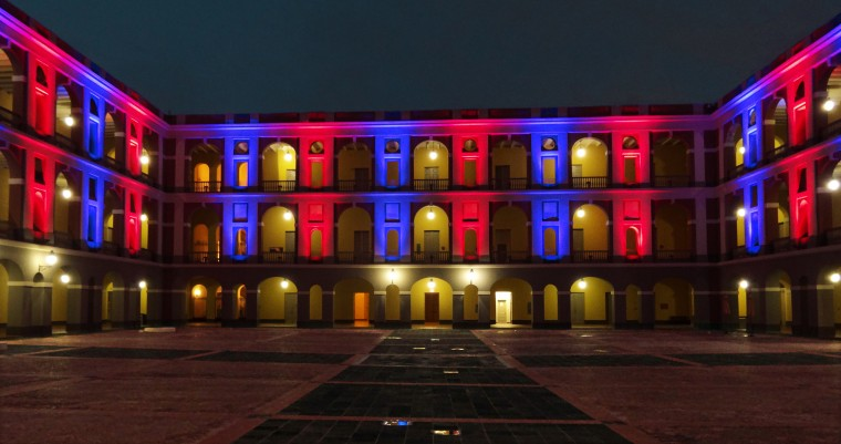 The Ballaja Barracks (Cuartel de Ballaja), a former military quarters, is bathed in a variety of lights. The building is a former military barracks that is currently used for cultural education programs, primarily for children. (Robert K. Hamilton/Baltimore Sun)