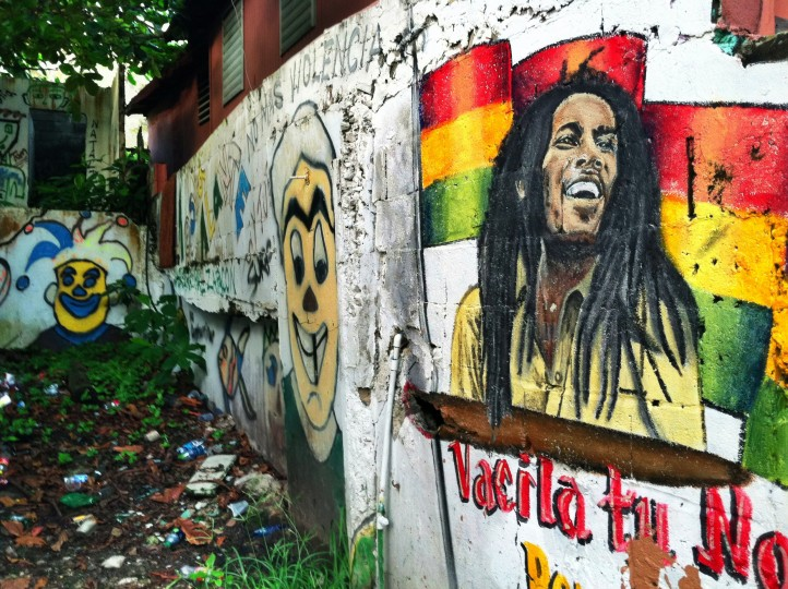 A mural depicting famous reggae singer Bob Marley is painted on a wall located in La Perla, a historic community located adjacent to the northern fortress wall. La Perla has a rich history in island music. The neighborhood faces the Atlantic coast and lies east of the famous Santa Mari'a Magdalena de Pazzis Cemetery near El Morro. (Robert K. Hamilton/Baltimore Sun)