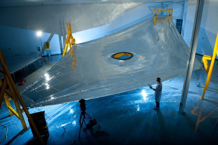 A full-scale Webb sunshield membrane deployed on the membrane test fixture at Mantech, Hunstville. The JWST sunshield comprises five of these layers, each of which has to be precisely spaced. (Courtesy of Northrop Grumman Aerospace Systems)