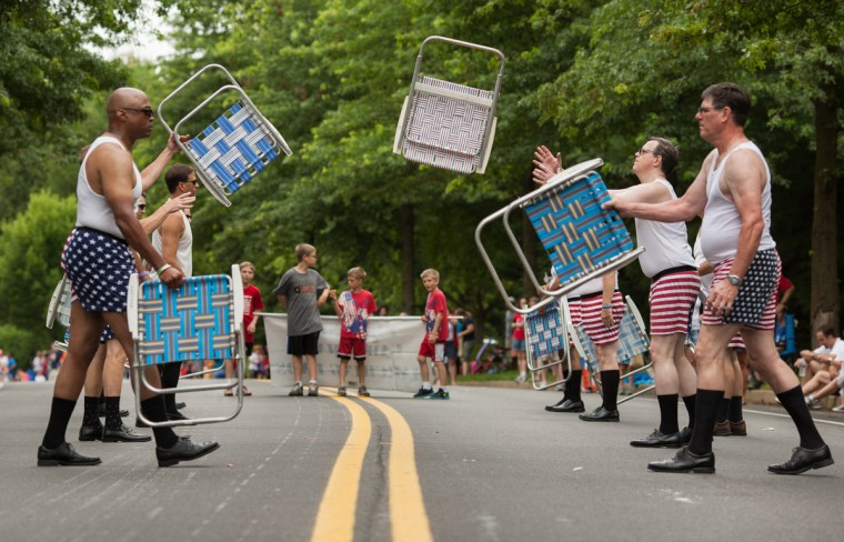 The Precision Lawnchair Marching Dads perform during the parade. The 14th annual River Hill Independence Day Parade started at Pointers Run Elementary School and went down Great Star Drive to the Clarksville Volunteer Fire Department. (Nate Pesce/Baltimore Sun Media Group)