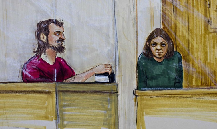 Bomb plot suspects John Nuttall (L) and Amanda Korody are shown in a courtroom sketch, during their appearance in provincial court in Surrey, British Columbia July 9, 2013. Nuttall and Korody are charged with attempting to set off three home-made pressure cooker bombs in a crowd celebrating the July 1 Canada Day holiday in Victoria, the capital of the Pacific province of British Columbia.(Felicity Don/Reuters)