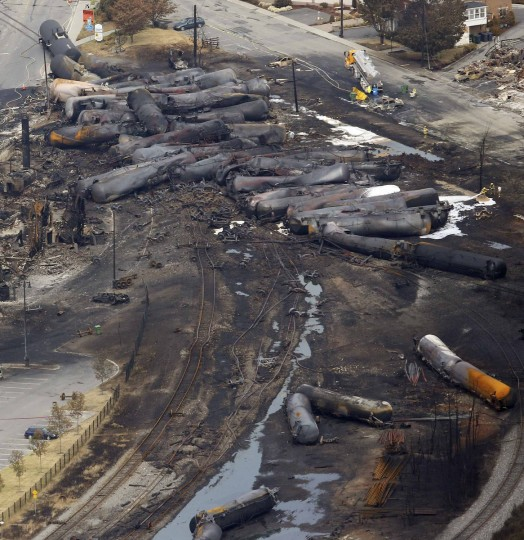The remains of a burnt train are seen in Lac Megantic, July 8, 2013. (Mathieu Belanger/Reuters)