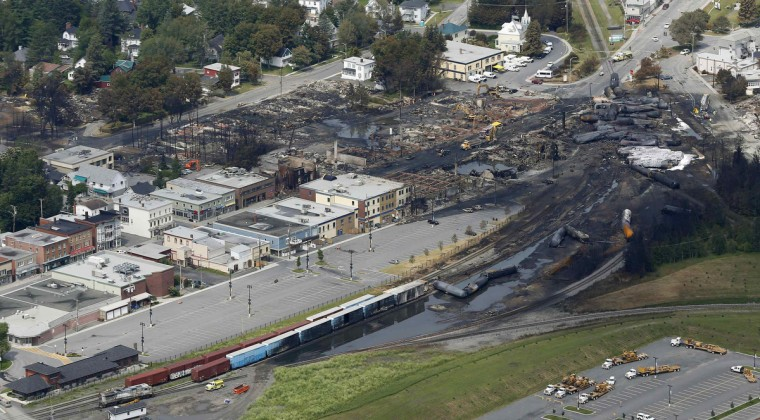 A aerial view of the wreckage of the crude oil train is seen in Lac Megantic, July 8, 2013. (Mathieu Belanger/Reuters)