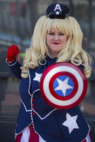"Cosplayer Laura Stevens poses in her ""Lolita Captain America"" costume, inspired by comic book character ""Captain America"", during the 2013 San Diego Comic-Con (SDCC) International in San Diego, California July 18, 2013. (Fred Greaves/Reuters)"