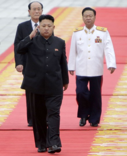 North Korean leader Kim Jong-un (front) inspects honor guards during an opening ceremony of the Victorious Fatherland Liberation War Museum, in Pyongyang July 27, 2013. North Korea is celebrating the 60th anniversary of the signing of a truce in the Korean War. (Jason Lee/Reuters)