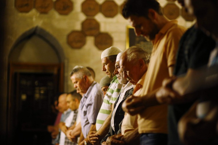 "Muslims attend an evening communal prayer session called ""Tarawih"" to mark the holy fasting month of Ramadan at the Bajrakli mosque in Belgrade July 9, 2013. (Marko Djurica/Reuters)"