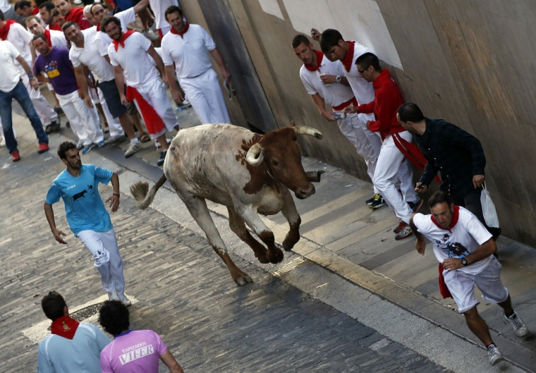 Runners get out of the way of a lone steer during the second running of the bulls of the San Fermin festival in Pamplona. (Susana Vera/Reuters photo)