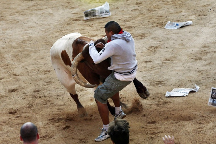 A steer charges at a runner during the third running of the bulls at the San Fermin festival in Pamplona. (Susana Vera/Reuters photo)