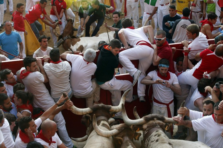 Bull herders, also known as pastores, try to remove a dead steer (above C) from the bull ring as runners get trapped next to other steers at the entrance to the bull ring during the third running of the bulls at the San Fermin festival in Pamplona. (Susana Vera/Reuters photo)
