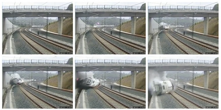 A train derails in this series of still images from the video of a security camera near Santiago de Compostela, northwestern Spain, July 24, 2013. A train derailed outside the ancient northwestern Spanish city of Santiago de Compostela on Wednesday evening, killing at least 77 people and injuring up to 131 in one of Europe's worst rail disasters. Video taken July 24, 2013. (via Reuters TV)