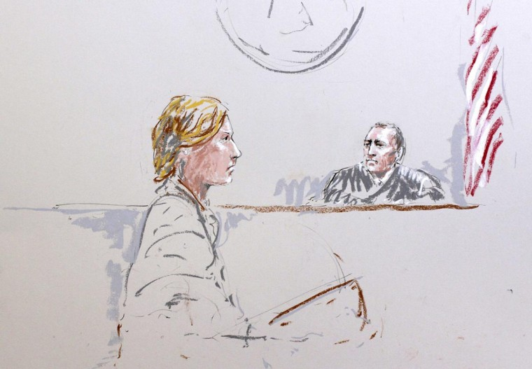Attorney Emma Scanlan (L) representing Army Staff Sergeant Robert Bales and Judge Col. Jeffery R. Nance (r) are seen in a courtroom sketch as Bales is arraigned on 16 counts of premeditated murder, six counts of attempted murder and seven of assault at Joint Base Lewis-McChord, Washington January 17, 2013. Bales, a veteran of four combat tours in Iraq and Afghanistan, is accused of gunning down 16 villagers - mostly women and children - over a five-hour period in March 11, 2012 in Afghanistan's Kandahar province. Bales deferred making a plea before a U.S. military court to charges of premeditated murder, for which prosecutors are seeking the death penalty. (Peter Millett/Reuters)