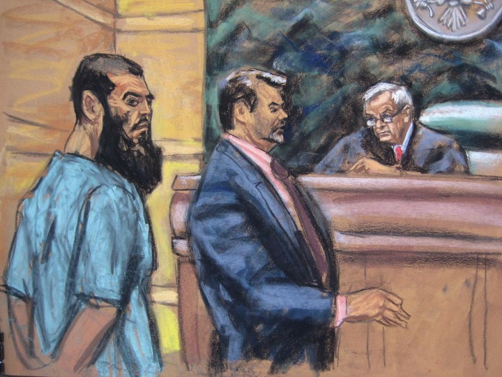 Abid Naseer (L) is seen in a courtroom sketch with his attorney Steven Brounstein (C) and Judge Raymond Dearie as he pleads not guilty to terrorism charges in his first U.S. court appearance in New York January 7, 2013. Naseer was extradited on Thursday from Britain to Brooklyn, New York and is facing up to life in prison on charges including providing material support to al Qaeda and conspiring to use a weapon of mass destruction in connection with an alleged plot to bomb a city center in Manchester, England. (Jane Rosenberg/Reuters)