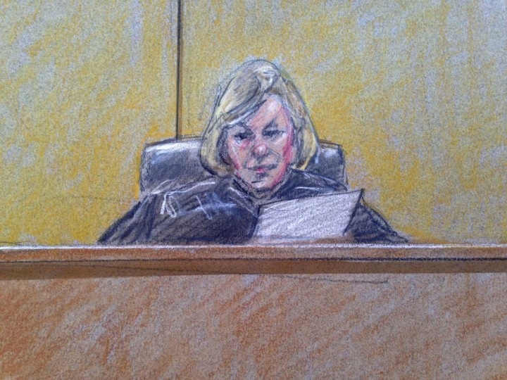 A courtroom sketch of military judge Colonel Tara Osborn presiding at the court martial of U.S. Army Major Nidal Hasan at Fort Hood, Texas July 9, 2013. Hasan, 42, an American-born Muslim, is accused of killing 13 soldiers in a 2009 Fort Hood shooting rampage. (Brigitte Woosley/Reuters)