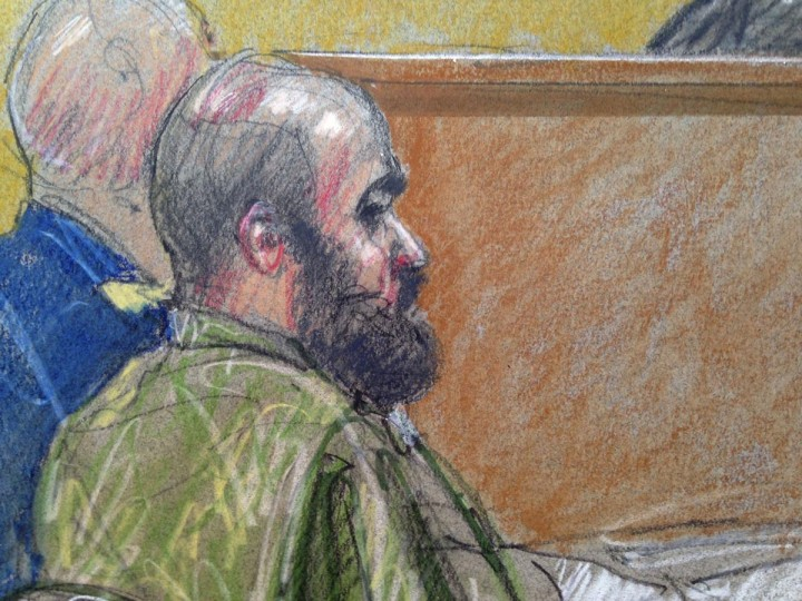 U.S. Army Major Nidal Hasan, accused of killing 13 soldiers in a 2009 Fort Hood shooting rampage, is seen in a courtroom sketch at his court martial at Fort Hood, Texas July 9, 2013. Hasan, 42, an American-born Muslim who faces the death penalty if convicted by a military panel. (Brigitte Woosley/Reuters)